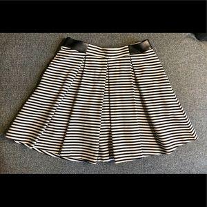 Club Monaco striped knit skirt w/ leather detail